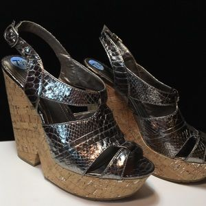 BCBGeneration Shoes Silver Wedges